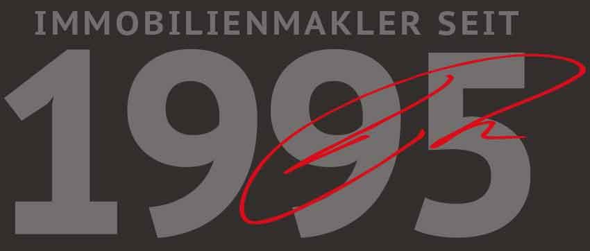 Schriftzug Immobilienmakler seit 1995 darüber in roter Unterschrift H. Riedel